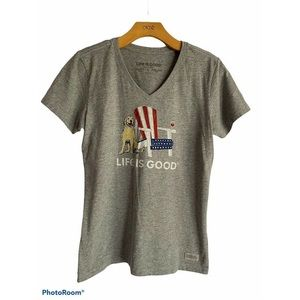 Life Is Good Small V Neck T- Shirt Golden Wine New